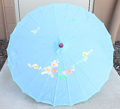 """22"""" Inch tall Light Blue Floral Wood Bamboo Nylon Parasol Decoration Gift"""