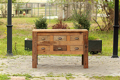 """48"""" Reclaimed Wood Apothecary Chest Hand Crafted Barn Wood Card Catalogue Buffet"""