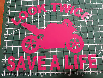 Look Twice Save A Life Decals Motorcycle Warnings Fairings Bumper Stickers Pink