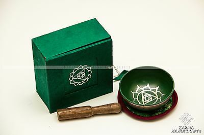 "TIBETAN OM Anahata 4th Heart Chakra SINGING BOWL 3.5"" Gift Box HANDMADE NEPAL"