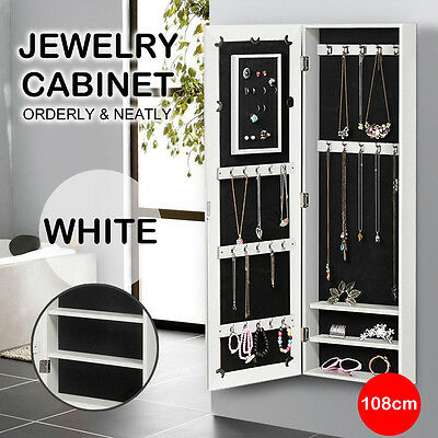 Wall Mount Jewellery Cabinet Mirror Makeup Storage Jewelry Organiser Box Stand
