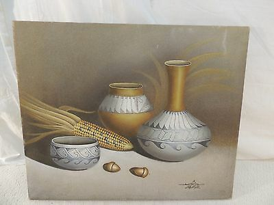 Original Native American Oil & Sand Painting Signed 24x20 Native Artist Marto