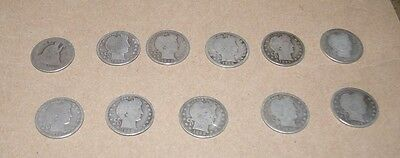Lot of silver seated liberty and barber quarters
