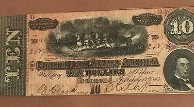 1864 $10 US Confederate States of America CHoice XF Old US Paper Currency!