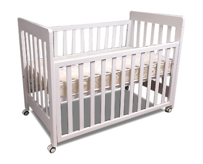 Pioneer cot crib baby bed with Australian Made innerspring mattress with wheels
