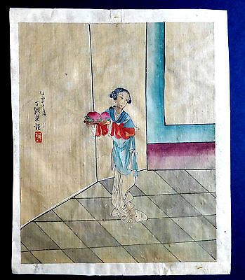 Antique Chinese Hand Painted Lady On Silk  Late Qing Dynasty  1885