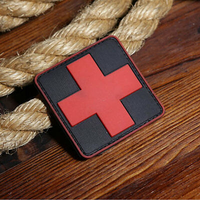 Red Cross Rubber PVC Patch Combat Morale Badge 3D Military Tactical  Novelty