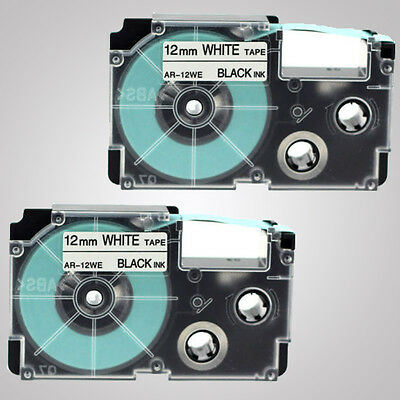 "2PCS XR-12WE 12mm (1/2"") Black on White Casio Compatible Label Tape 8m Length"