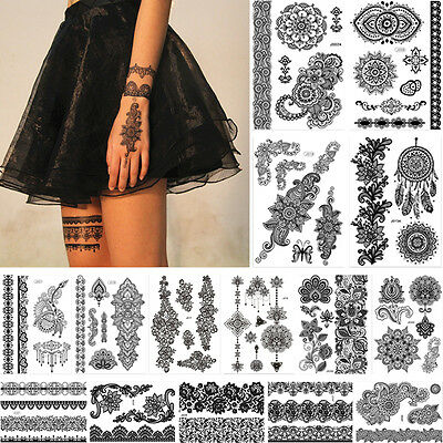 15 Pieces Temporary Tattoo Sticker Decal Black Flower Lace Pattern Back Body Art