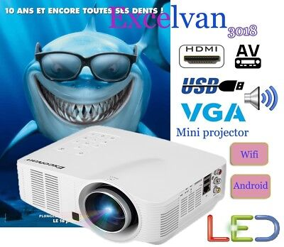 Portable Proyector LED 1500lm Home Cinema Projector 1080P VGA HDM WIFI Android