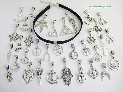 Fashion Black Flat Faux Cord Charms Pendants Necklace Wiccan Pagan Gothic 18""