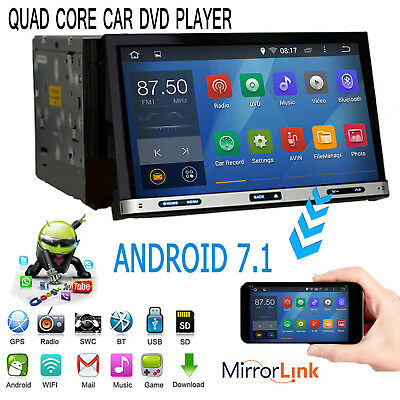 """2018 Android 7.1 Quad Core 7"""" Touch 2 Din Car Radio Stereo DVD Player GPS OBD2"""