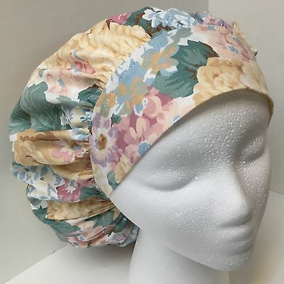 Spring Floral Large Medical Bouffant OR Scrub Cap Surgery Hat