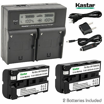 Kastar Battery Charger Sony NP-F330 NP-F550 NP-F570 BC-VM10 LED MOUNT V-MOUNT