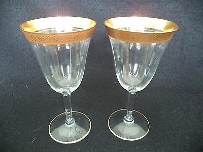 2 crystal water goblets wine stems gold band Tiffin Rembler Rose wide optic '30s