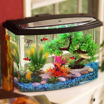 Hawkeye 7 Gal Bow View Fish Aquarium Bowl Kit With LED Light And Power Filter