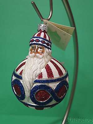 Patricia Breen Christmas Ornament Santa Claus Roly Poly Patriotic NWT