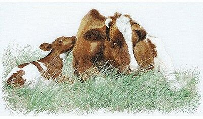 Brown Cow On Linen Counted Cross Stitch Kit, 17.75' X 27.5' 32 Count