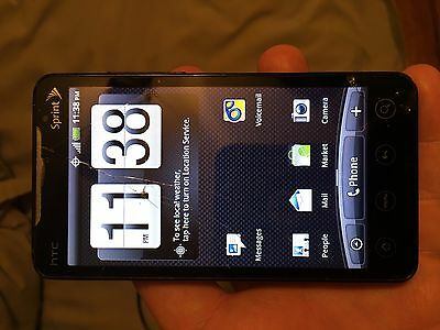 Sprint HTC Evo 4G Black with 8gb SD card 2 Black cases Clean ESN Works Good!