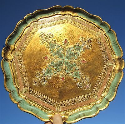 Ornate Italian Florentine Gold Gilt Turquoise Painted Wood Toleware Serving Tray