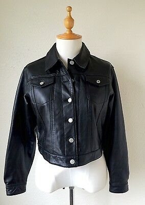 GAP KIDS Black Genuine Leather Jacket Coat Youth Girls Sz XXL