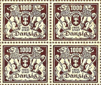 Danzig 1923 1000 Mark Brown, Mnh, Block Of 4 Wmk Sideways, Great Deal