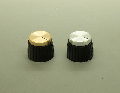 4 x Metal Top Control Knob for Marshall Amp - 6mm Shaft (Silver or Gold)