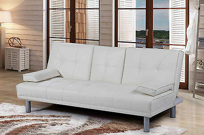 Hot Sale - Faux Leather 2/3 Seater Sofa Bed & White Colour