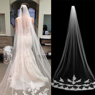 3M 1 Tier Floor Length Lace Edge Bride Wedding Bridal Veil With Comb Ivory/White
