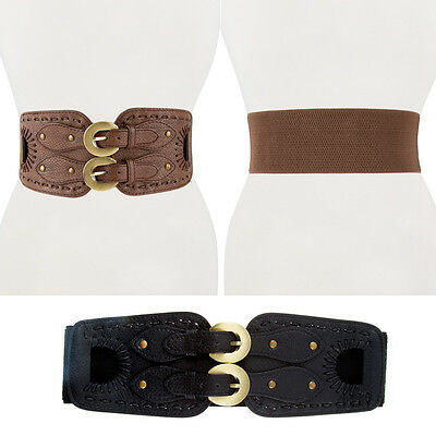 Women Western Fashion Wide Gold Metal Double Buckle Waist Stretch Elastic Belt