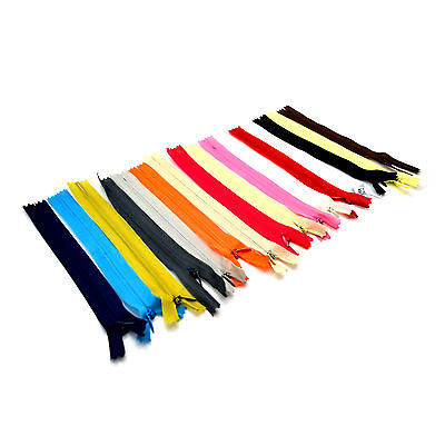 10XLot 28cm Nylon Coil Zipper Concealed Invisible Closed End Zip Tailor Sewing