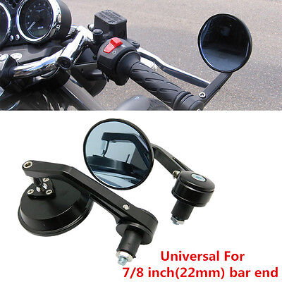 "Universal Pair Motorcycle Black Rear View Side Mirror Handle Bar End 7/8"" Mirror"