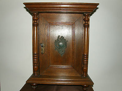 Antique Victorian Miniature Oak Wood Wall Cabinet.