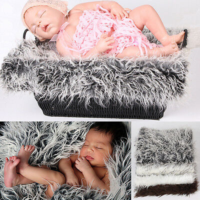 Infant Newborn Baby Faux Fur Blanket Basket Stuffer for Photography Photo Props