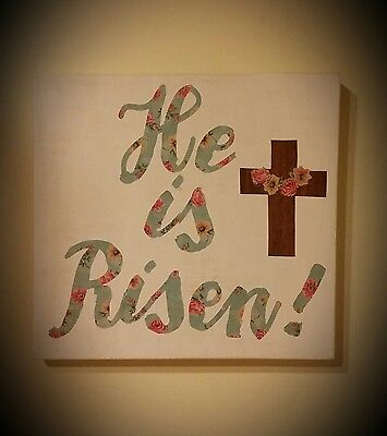 He is Risen! Easter Decorative Sign Art on Wood Canvas. One of a Kind 12x12
