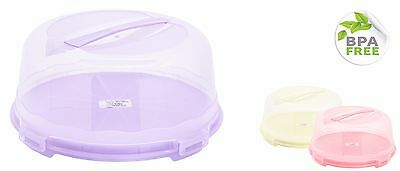 Round Plastic Cake Box Saver with Handle Perfect to Keep Cakes Fresh 30cm BPAfre