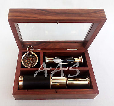 Gift Set of Brass Telescope Nautical Sand Timer Maritime Compass With Wooden Box