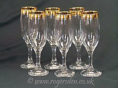 Rayware Glass  A Set of 6 Gold Rimed Champagne Glasses Flutes