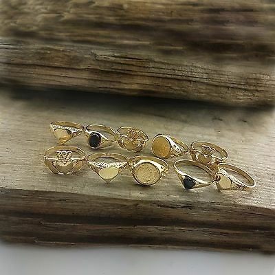 WHOLESALE TEN: 9ct Gold BABY RINGS SMALL SIZED IDEAL FOR RESALE 9.4 GRAMS OF 9ct