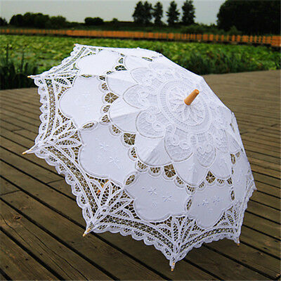 Pretty Parasols Umbrella Cotton Lace Bridal Wedding Party Decor White