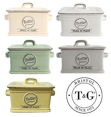 T&G Woodware Pride of Place Ceramic Butter Dishes Dish in Various Colours