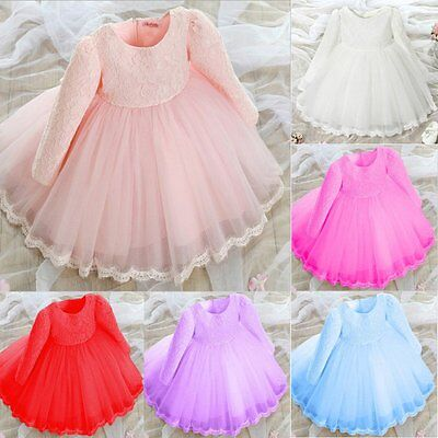 Kids Baby Girl Long Sleeve Princess Lace Flower Pageant Wedding Party Dresses UK
