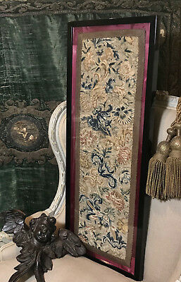 17th Century Embroidered Silk Orphrey Panel Italian Flowers Floral Decor