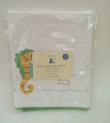 """Pottery Barn Ocean Critters Valance 44"""" x 18"""" Seahorse Fish Octopus Crab *NEW*"""