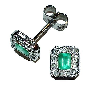 Fully Hallmarked 9ct White Gold, Emerald & Diamond Square Stud Earrings