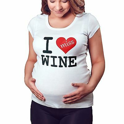 I Miss Wine Funny Cute Maternity T Shirt Pregnant Tshirt baby shower gift M15