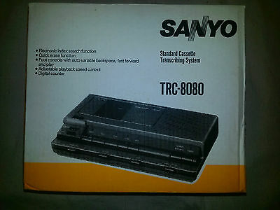 Sanyo TRC8080 Standard Cassette Dictation Transcribing System & Foot Pedal