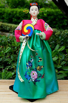 Ancient Korea Kimon Girl Figurine Hanbok Silk Brocade Dress Beauty home decor-23