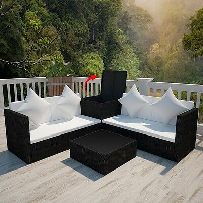 Garden Rattan Set Patio Furniture Outdoor Table Sofa Chairs Cube Black Luxury