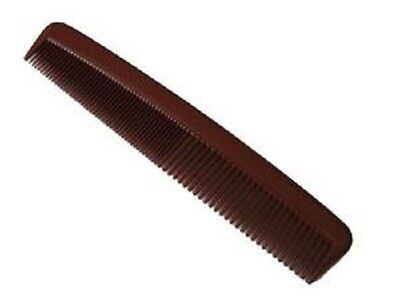 Duralon Men's 6inch Strong Plastic Pocket Hair Comb with Fine & Wide Teeth BROWN